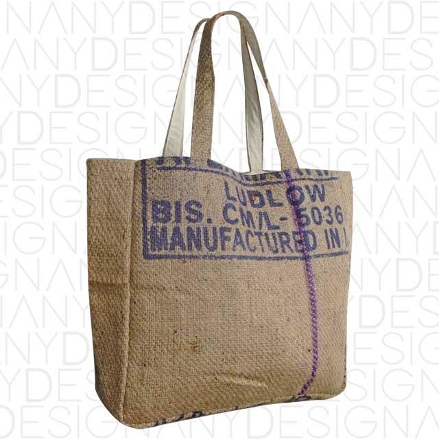 Produzione in borse da spesa in iuta grezza riciclata
