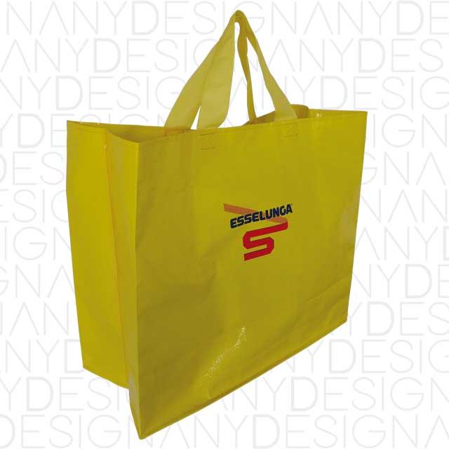 produzione di borse da spesa aperta in polipropilene riciclato con laminazione lucida