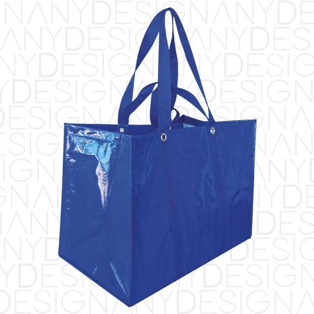 produzione di borse da spesa aperte in polipropilene riciclato con laminazione lucida
