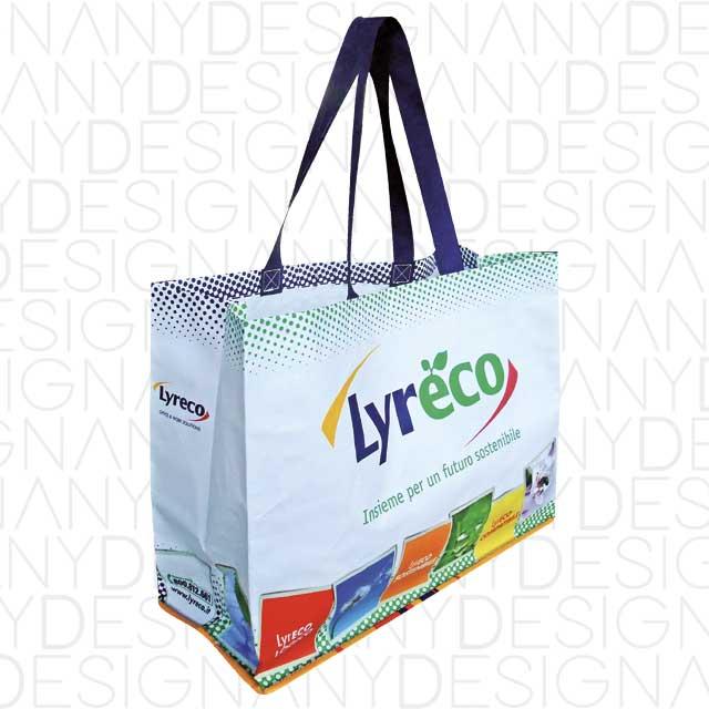 produzione di shopping bag in polipropilene con laminazione lucida